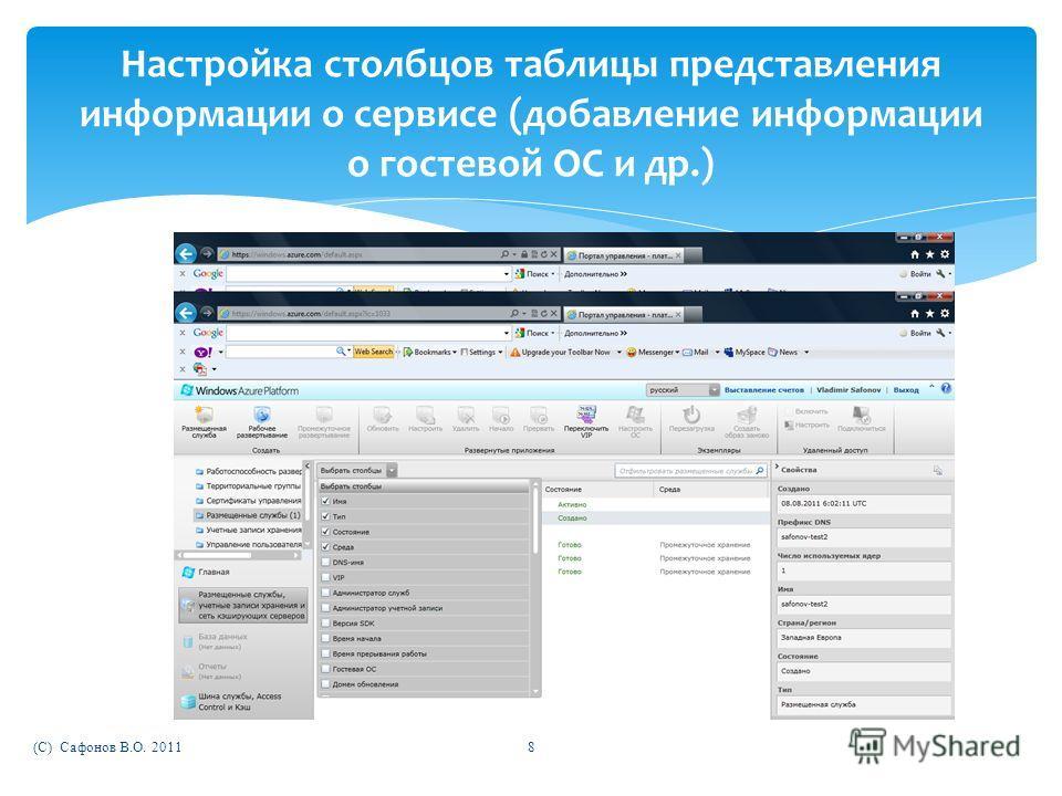 (C) Сафонов В.О. 20118 Настройка столбцов таблицы представления информации о сервисе (добавление информации о гостевой ОС и др.)