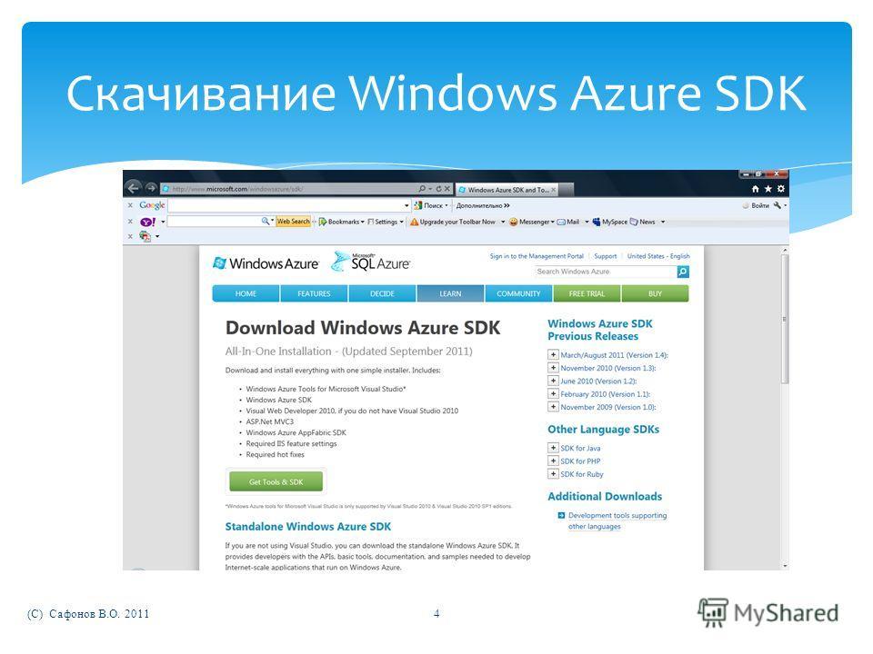 (C) Сафонов В.О. 20114 Скачивание Windows Azure SDK