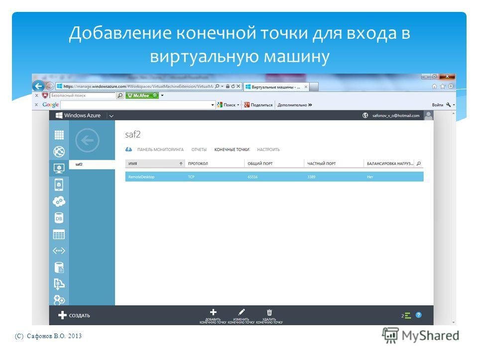 (C) Сафонов В.О. 2013 Добавление конечной точки для входа в виртуальную машину