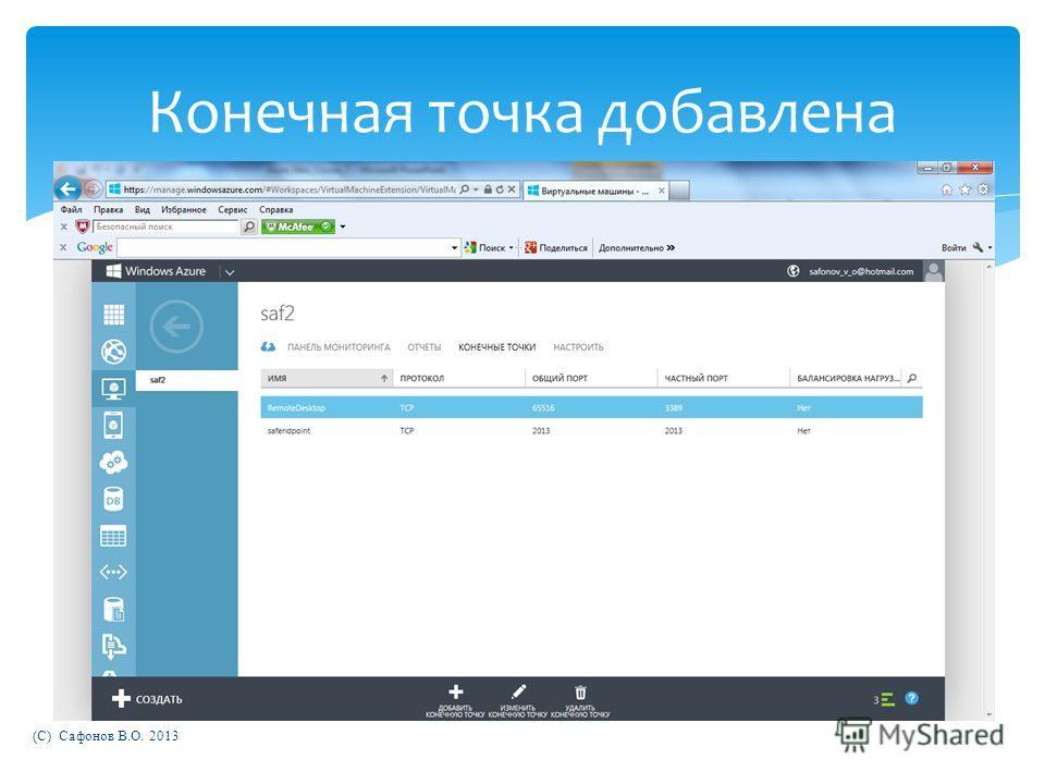 (C) Сафонов В.О. 2013 Конечная точка добавлена