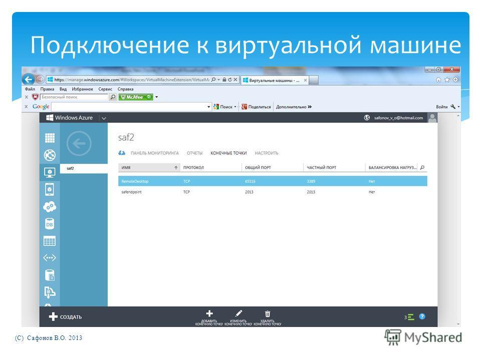 (C) Сафонов В.О. 2013 Подключение к виртуальной машине