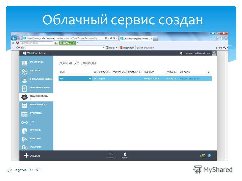 (C) Сафонов В.О. 2013 Облачный сервис создан