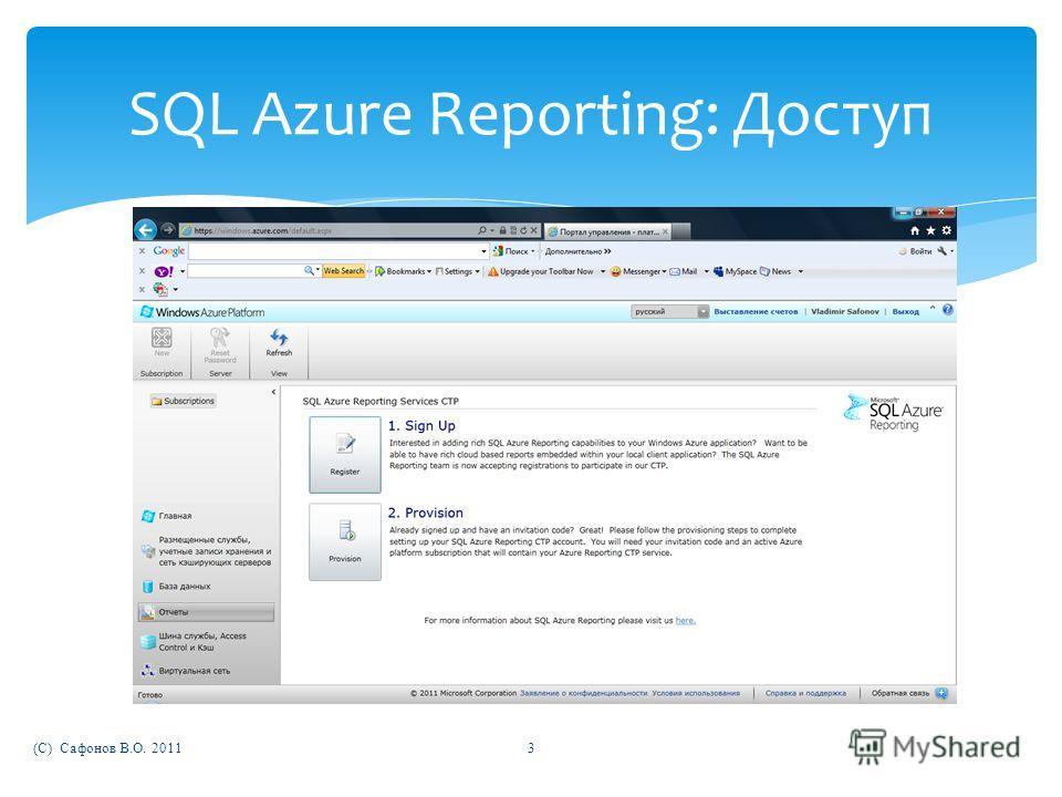 (C) Сафонов В.О. 20113 SQL Azure Reporting: Доступ