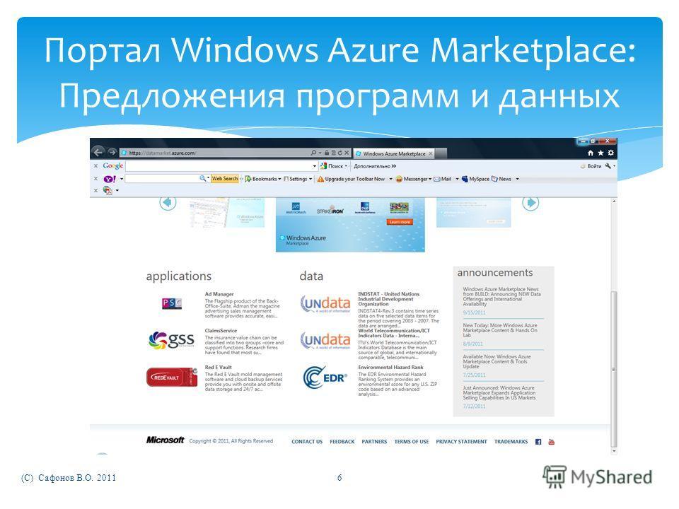(C) Сафонов В.О. 20116 Портал Windows Azure Marketplace: Предложения программ и данных
