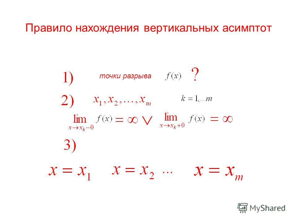 Правило нахождения вертикальных асимптот точки разрыва