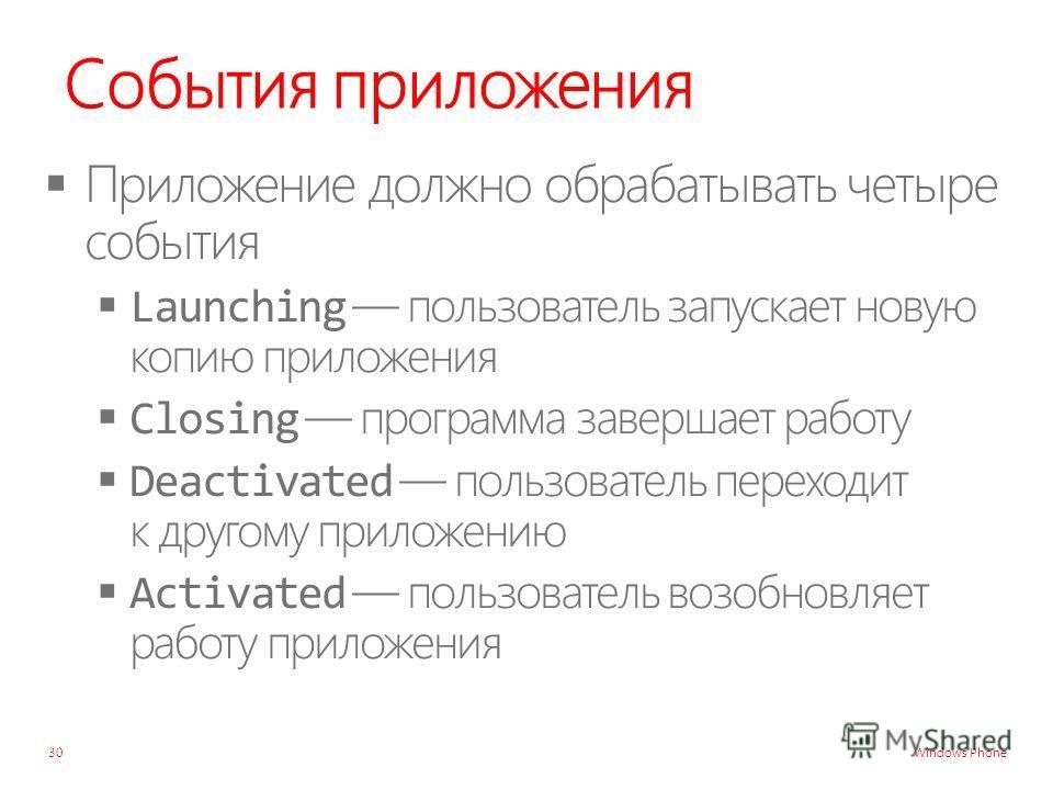 Windows Phone События приложения 30