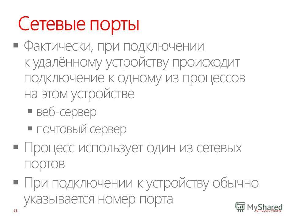 Windows Phone Сетевые порты 16