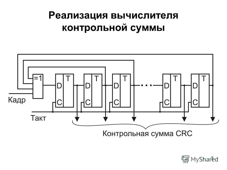 7 Реализация вычислителя контрольной суммы