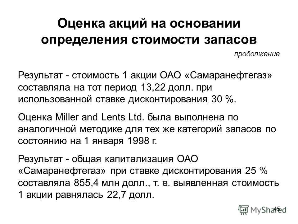 45 Оценка акций на основании определения стоимости запасов Результат - стоимость 1 акции ОАО «Самаранефтегаз» составляла на тот период 13,22 долл. при использованной ставке дисконтирования 30 %. Оценка Miller and Lents Ltd. была выполнена по аналогич