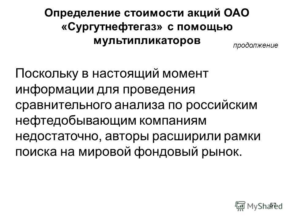 57 Определение стоимости акций ОАО «Сургутнефтегаз» с помощью мультипликаторов продолжение Поскольку в настоящий момент информации для проведения сравнительного анализа по российским нефтедобывающим компаниям недостаточно, авторы расширили рамки поис