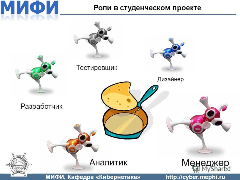 МИФИ, Кафедра «Кибернетика»http://cyber.mephi.ru Менеджер Аналитик Разработчик Дизайнер Тестировщик Роли в студенческом проекте