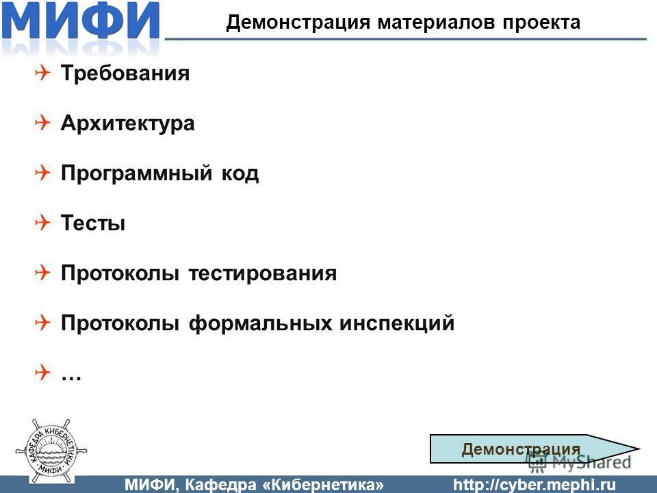 Требования Архитектура Программный код Тесты Протоколы тестирования Протоколы формальных инспекций … МИФИ, Кафедра «Кибернетика»http://cyber.mephi.ru Демонстрация материалов проекта Демонстрация
