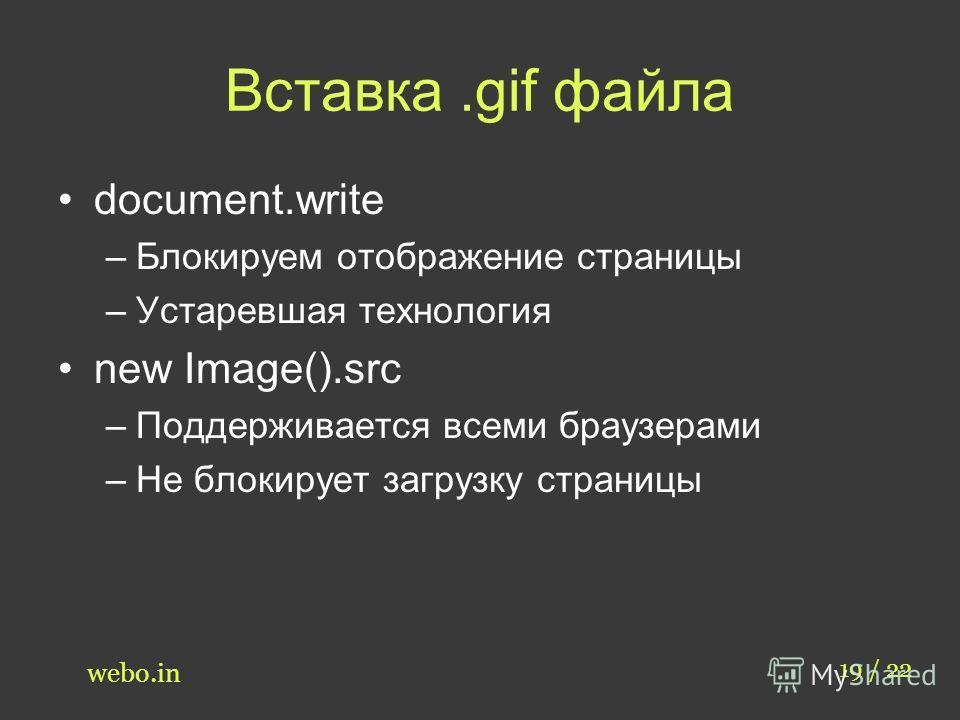 Вставка.gif файла document.write –Блокируем отображение страницы –Устаревшая технология new Image().src –Поддерживается всеми браузерами –Не блокирует загрузку страницы 19 / 22 webo.in