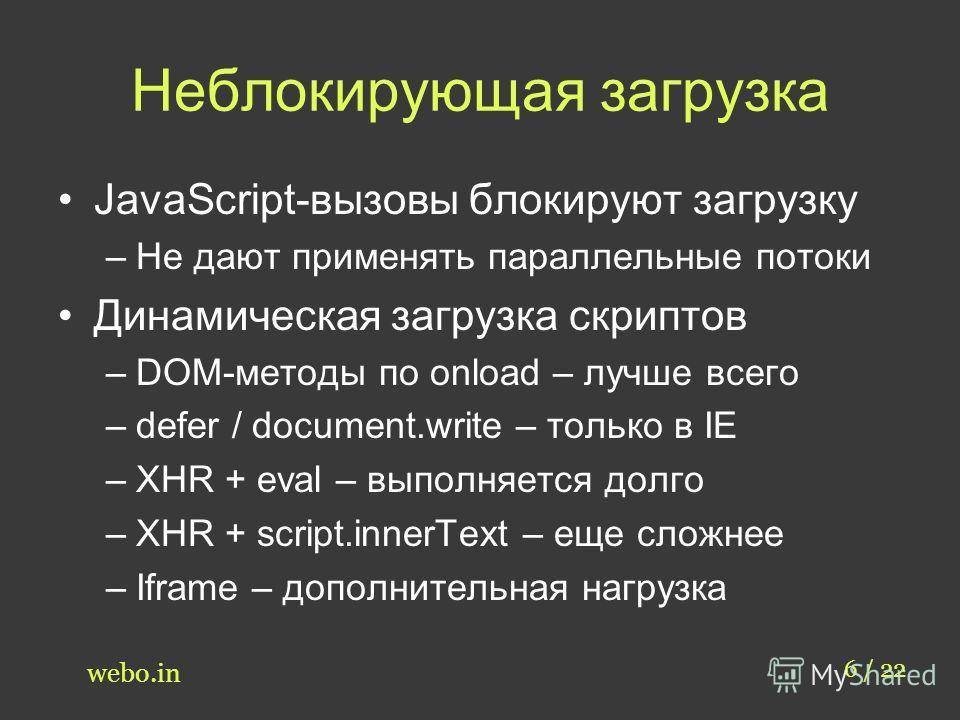 Неблокирующая загрузка 6 / 22 webo.in JavaScript-вызовы блокируют загрузку –Не дают применять параллельные потоки Динамическая загрузка скриптов –DOM-методы по onload – лучше всего –defer / document.write – только в IE –XHR + eval – выполняется долго