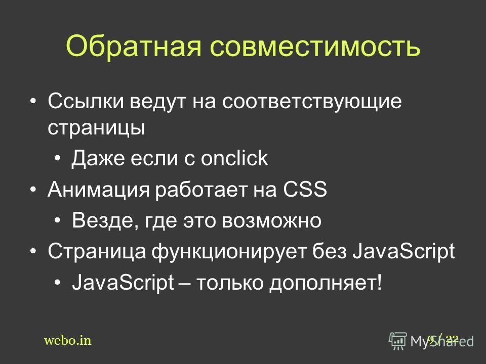 Обратная совместимость 9 / 22 webo.in Ссылки ведут на соответствующие страницы Даже если с onclick Анимация работает на CSS Везде, где это возможно Страница функционирует без JavaScript JavaScript – только дополняет!