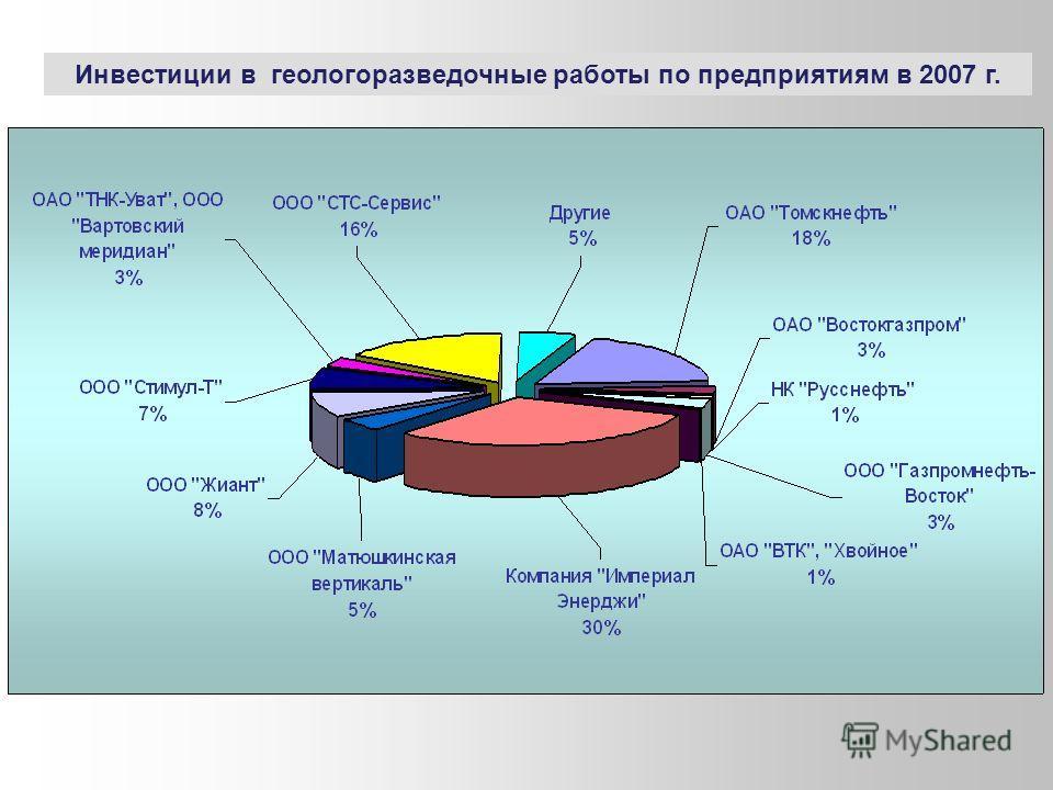 Инвестиции в геологоразведочные работы по предприятиям в 2007 г.