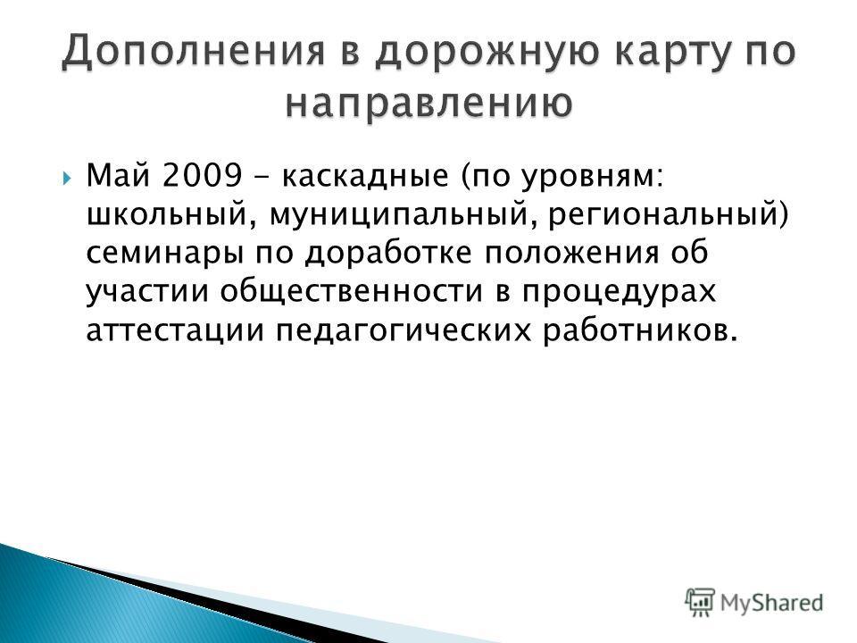 Май 2009 - каскадные (по уровням: школьный, муниципальный, региональный) семинары по доработке положения об участии общественности в процедурах аттестации педагогических работников.