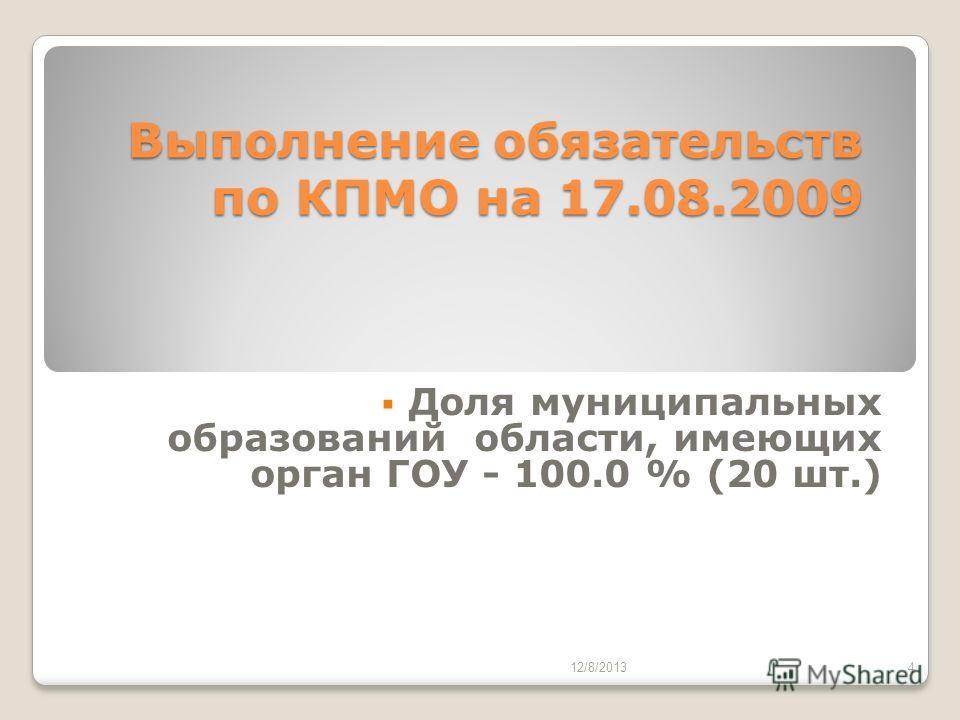 Выполнение обязательств по КПМО на 17.08.2009 Доля муниципальных образований области, имеющих орган ГОУ - 100.0 % (20 шт.) 12/8/20134