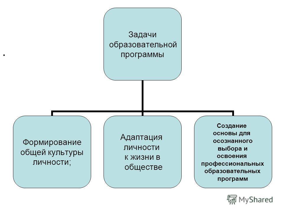 Задачи образовательной программы Формирование общей культуры личности; Адаптация личности к жизни в обществе Создание основы для осознанного выбора и освоения профессиональных образовательных программ