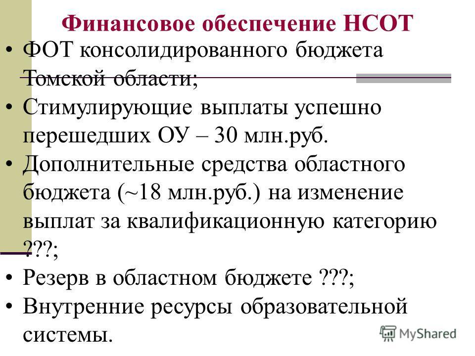 Финансовое обеспечение НСОТ ФОТ консолидированного бюджета Томской области; Стимулирующие выплаты успешно перешедших ОУ – 30 млн.руб. Дополнительные средства областного бюджета (~18 млн.руб.) на изменение выплат за квалификационную категорию ???; Рез