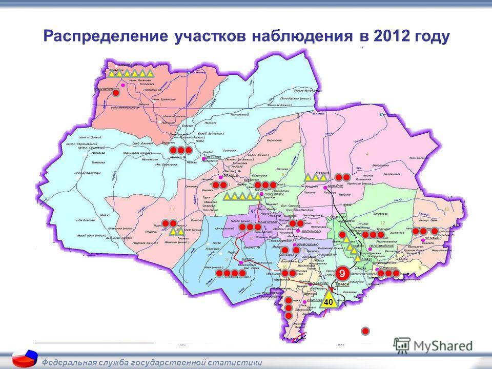 Федеральная служба государственной статистики Распределение участков наблюдения в 2012 году 9 40
