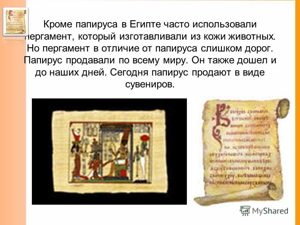Египет Древние египтяне изобрели папирус. Его делали из сердцевины тростника, который рос в изобилии по берегам Нила. Папирус – очень рыхлый материал, поэтому писать на нем можно было только с одной стороны.