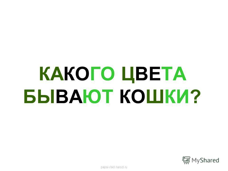 КАКОГО ЦВЕТА БЫВАЮТ КОШКИ? papa-vlad.narod.ru