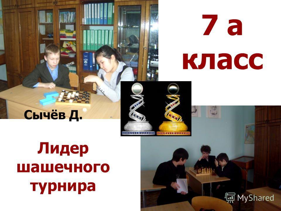 7 а класс Лидер шашечного турнира Сычёв Д.