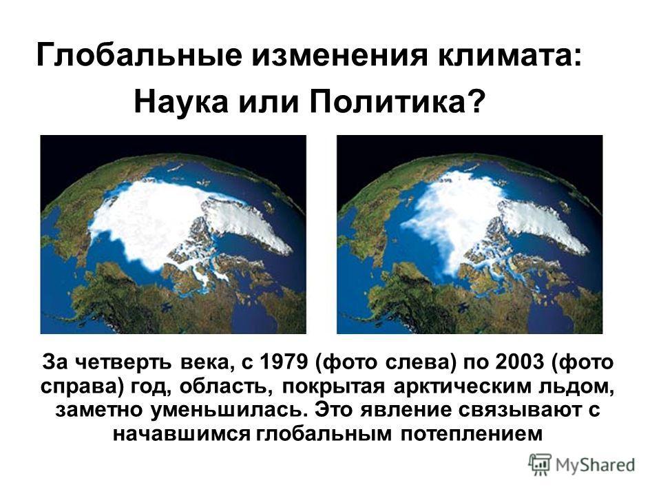Глобальные изменения климата: Наука или Политика? За четверть века, с 1979 (фото слева) по 2003 (фото справа) год, область, покрытая арктическим льдом, заметно уменьшилась. Это явление связывают с начавшимся глобальным потеплением