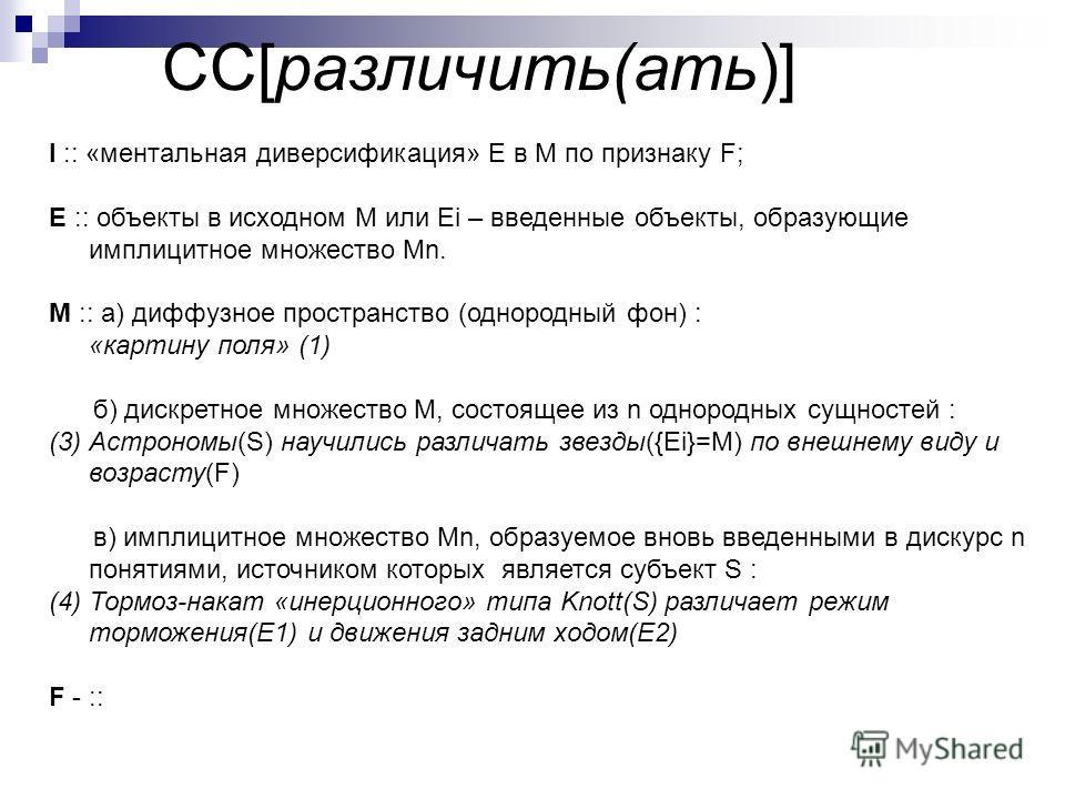 СС[различить(ать)] I :: «ментальная диверсификация» E в М по признаку F; E :: объекты в исходном M или Ei – введенные объекты, образующие имплицитное множество Mn. М :: а) диффузное пространство (однородный фон) : «картину поля» (1) б) дискретное мно