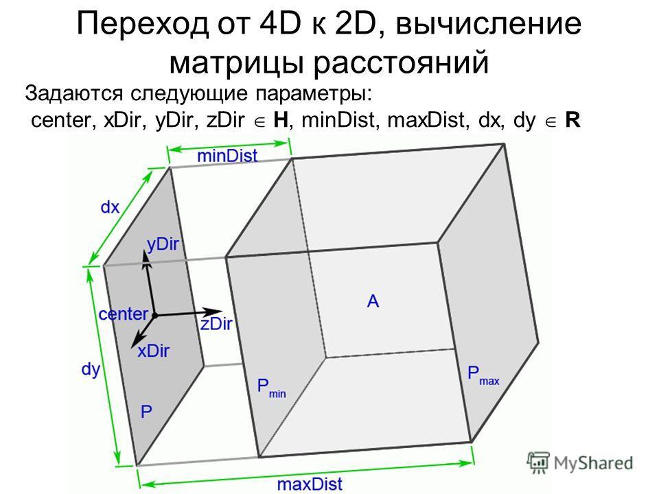 Переход от 4D к 2D, вычисление матрицы расстояний Задаются следующие параметры: center, xDir, yDir, zDir H, minDist, maxDist, dx, dy R