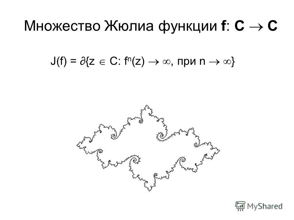 Множество Жюлиа функции f: C C J(f) = {z C: f n (z), при n }