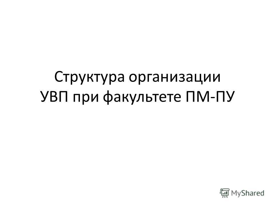 Структура организации УВП при факультете ПМ-ПУ