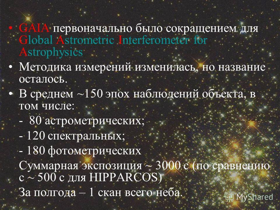 GAIA первоначально было сокращением для Global Astrometric Interferometer for Astrophysics Методика измерений изменилась, но название осталось. В среднем ~150 эпох наблюдений объекта, в том числе: - 80 астрометрических; - 120 спектральных; - 180 фото