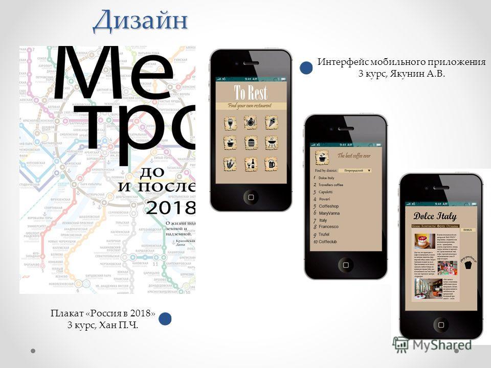 Дизайн Плакат «Россия в 2018» 3 курс, Хан П.Ч. Интерфейс мобильного приложения 3 курс, Якунин А.В.