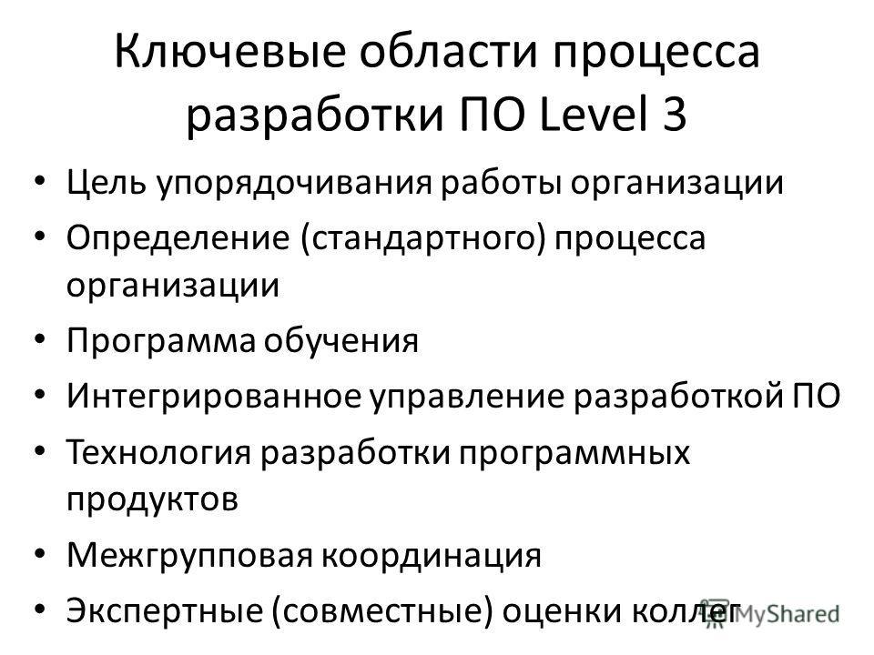 Ключевые области процесса разработки ПО Level 3 Цель упорядочивания работы организации Определение (стандартного) процесса организации Программа обучения Интегрированное управление разработкой ПО Технология разработки программных продуктов Межгруппов