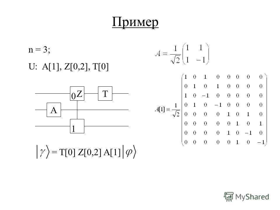 Пример n = 3; U: A[1], Z[0,2], T[0] A ZT 0 1 = T[0] Z[0,2] A[1]