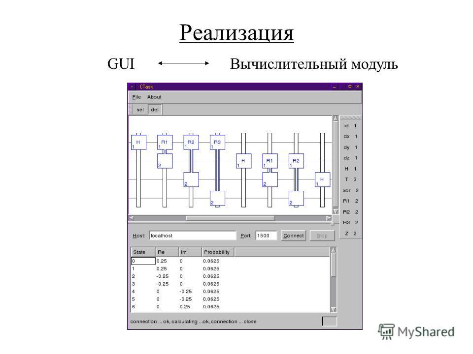 Реализация GUI Вычислительный модуль