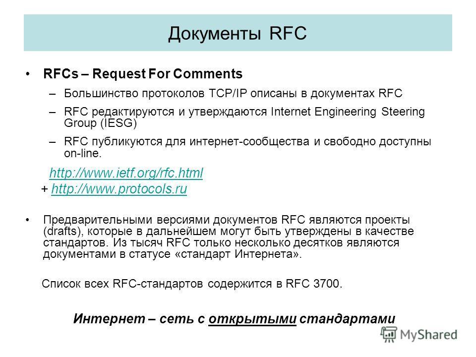 Документы RFC RFCs – Request For Comments –Большинство протоколов TCP/IP описаны в документах RFC –RFC редактируются и утверждаются Internet Engineering Steering Group (IESG) –RFC публикуются для интернет-сообщества и свободно доступны on-line. http: