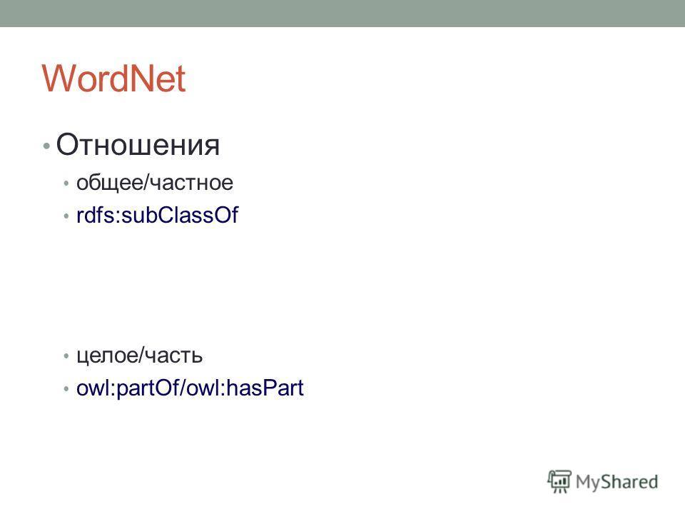 WordNet Отношения общее/частное rdfs:subClassOf целое/часть owl:partOf/owl:hasPart