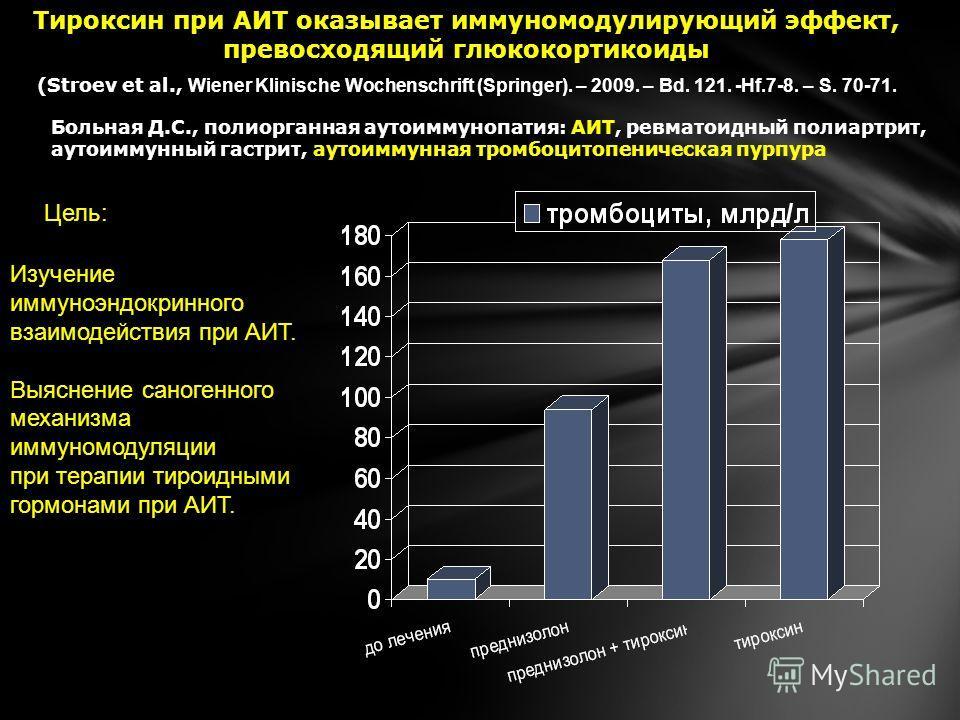Тироксин при АИТ оказывает иммуномодулирующий эффект, превосходящий глюкокортикоиды (Stroev et al., Wiener Klinische Wochenschrift (Springer). – 2009. – Bd. 121. -Hf.7-8. – S. 70-71. Больная Д.С., полиорганная аутоиммунопатия: АИТ, ревматоидный полиа