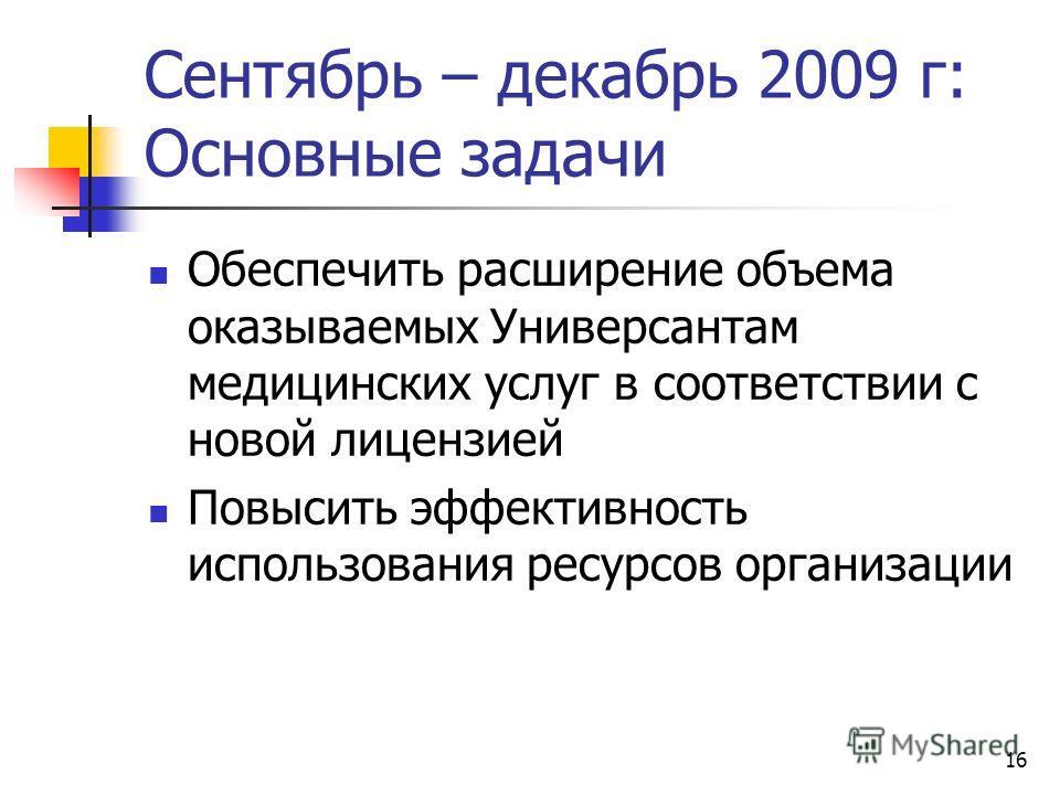 16 Сентябрь – декабрь 2009 г: Основные задачи Обеспечить расширение объема оказываемых Универсантам медицинских услуг в соответствии с новой лицензией Повысить эффективность использования ресурсов организации