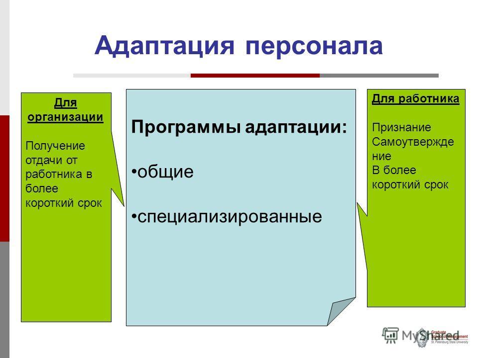 Адаптация персонала Программы адаптации: общие специализированные Для организации Получение отдачи от работника в более короткий срок Для работника Признание Самоутвержде ние В более короткий срок
