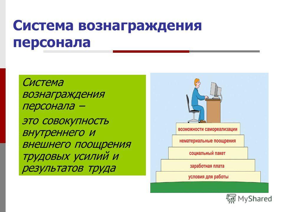 Система вознаграждения персонала Система вознаграждения персонала – это совокупность внутреннего и внешнего поощрения трудовых усилий и результатов труда