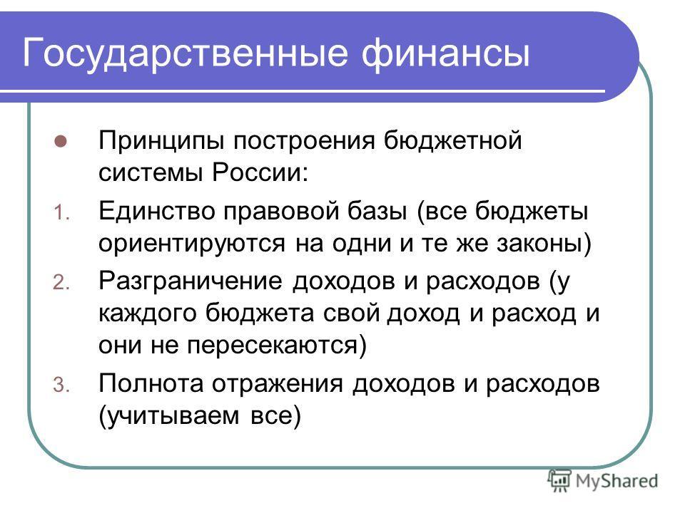 Государственные финансы Принципы построения бюджетной системы России: 1. Единство правовой базы (все бюджеты ориентируются на одни и те же законы) 2. Разграничение доходов и расходов (у каждого бюджета свой доход и расход и они не пересекаются) 3. По