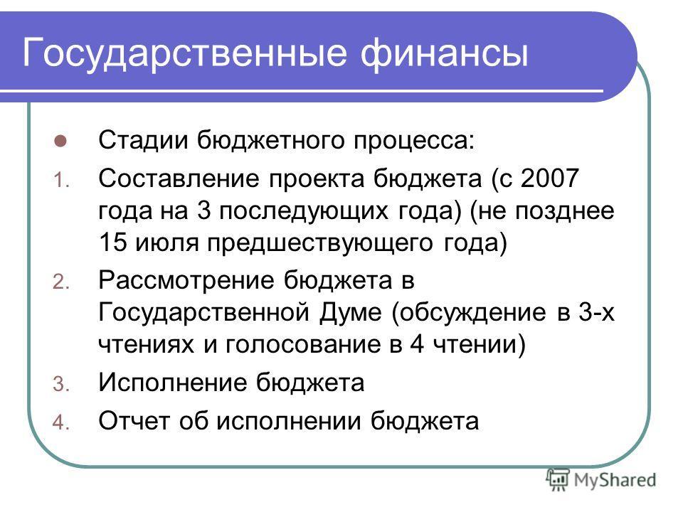 Государственные финансы Стадии бюджетного процесса: 1. Составление проекта бюджета (с 2007 года на 3 последующих года) (не позднее 15 июля предшествующего года) 2. Рассмотрение бюджета в Государственной Думе (обсуждение в 3-х чтениях и голосование в