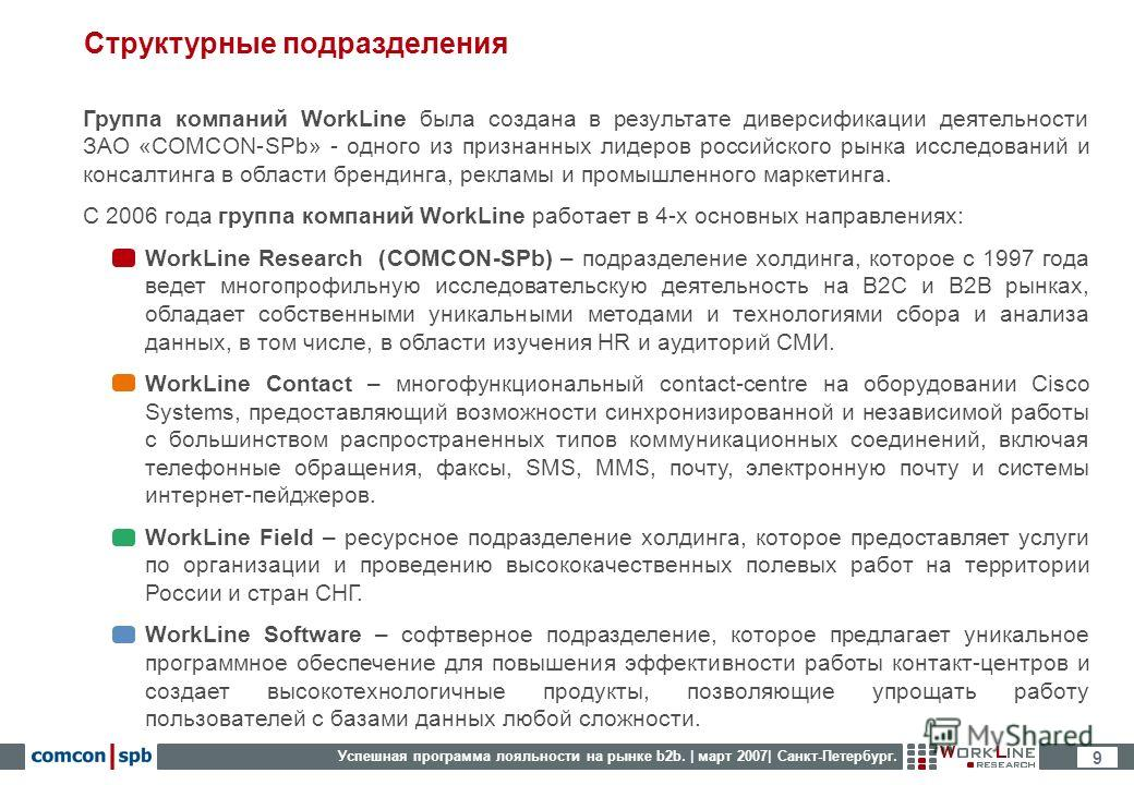 Успешная программа лояльности на рынке b2b. | март 2007| Санкт-Петербург. 9 Структурные подразделения Группа компаний WorkLine была создана в результате диверсификации деятельности ЗАО «COMCON-SPb» - одного из признанных лидеров российского рынка исс
