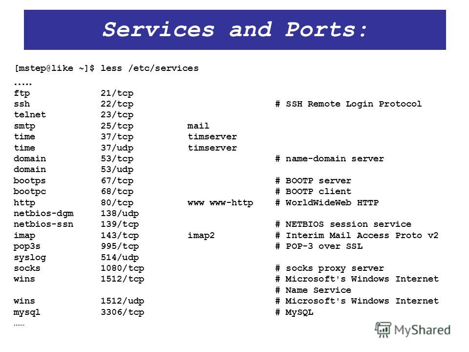 Services and Ports: [mstep@like ~]$ less /etc/services ….. ftp 21/tcp ssh 22/tcp # SSH Remote Login Protocol telnet 23/tcp smtp 25/tcp mail time 37/tcp timserver time 37/udp timserver domain 53/tcp # name-domain server domain 53/udp bootps 67/tcp # B
