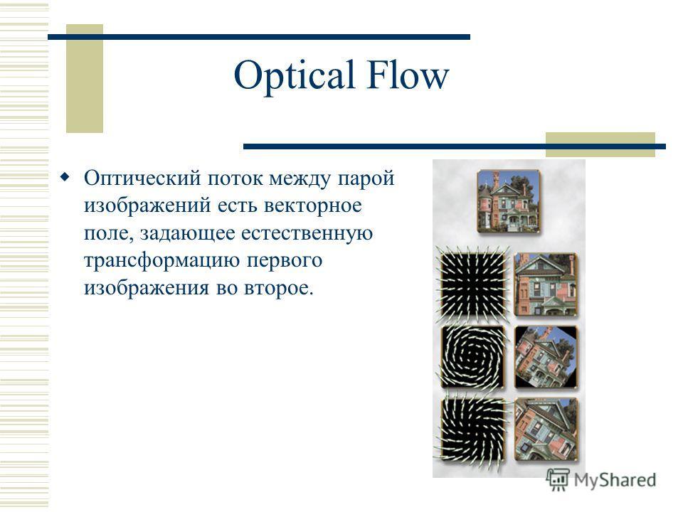 Optical Flow Оптический поток между парой изображений есть векторное поле, задающее естественную трансформацию первого изображения во второе.