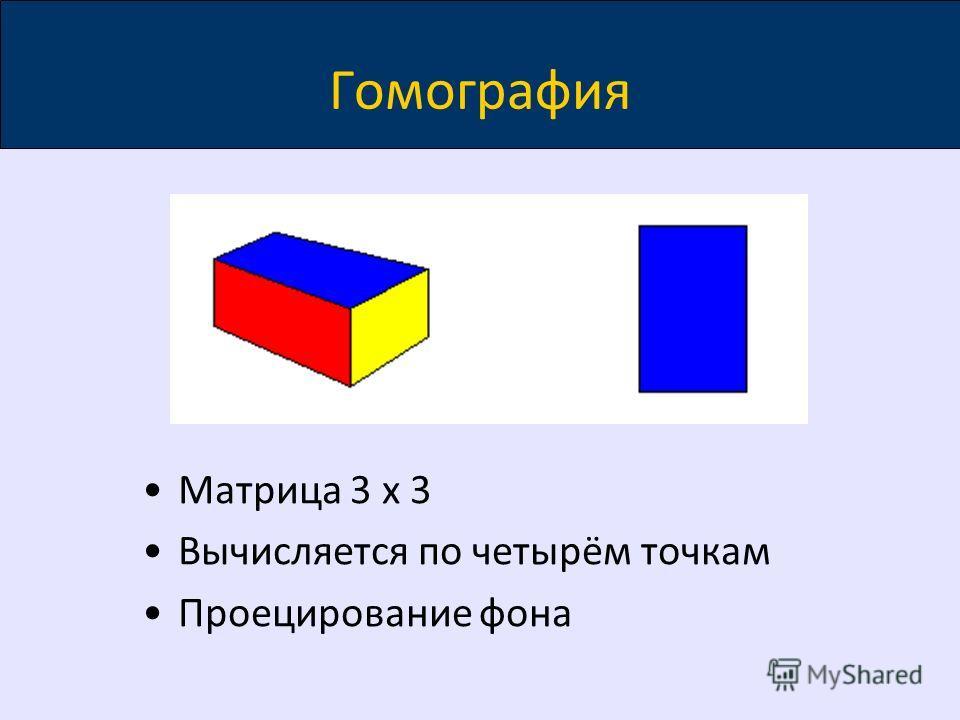 Гомография Матрица 3 x 3 Вычисляется по четырём точкам Проецирование фона
